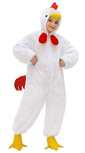 Karneval-Klamotten Kostüm Huhn Plüsch mit Kopf Junge Mädchen Karneval Tier Kinderkostüm Größe ()