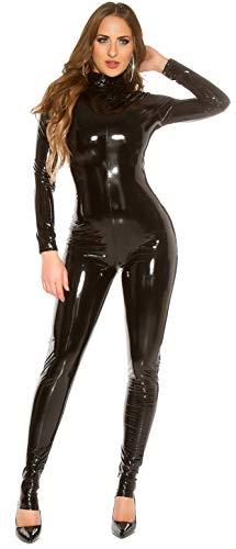 Firstclass Trendstore Catsuit Overall Einteiler * Gr. S M L XL XXL * sexy versch. Styles Wetlook Lederoptik mesh Schlitze Leder-Look (OV182621 schwarz S 900815)