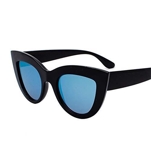 SUMHOME Polarisierte Europa und Amerika Retro Cat Eye Sonnenbrille grenzüberschreitenden Trend wilden Stil Sonnenbrille Explosion Modelle Sonnenbrille, schwarzer Rahmen blau
