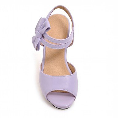 LvYuan Da donna Sandali Finta pelle PU (Poliuretano) Estate Autunno Footing Fiocco Quadrato Nero Beige Viola Rosa 2,5 - 4,5 cm Purple