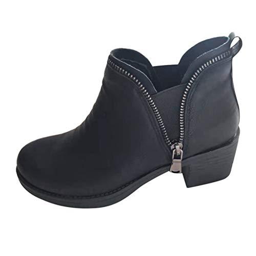 TPulling Frauen Spitzschuh Low-Heel Zipper Slip Schuh Ankle Boot  Schwarz Leder Flach Schuhe Frauen Mädchen Stiefel Mode Vintage Boots Low Heel Slip Heels