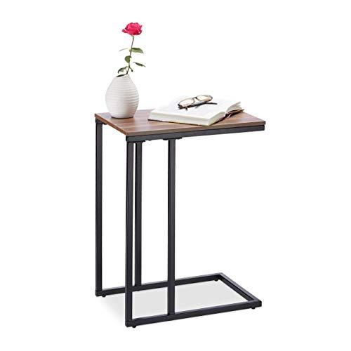 Relaxdays, schwarz/Natur Beistelltisch Metall, robuster Dekotisch, MDF in Holzoptik, Couchtisch HxBxT: 59,5 x 30 x 45 cm, Standard