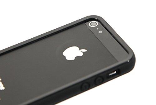 Arktis Big Bumper kompatibel mit iPhone SE iPhone 5 iPhone 5s Rahmenhülle Hülle Case Schutzhülle Schutzrahmen Handyhülle TPU Silikon - Schwarz - 5 Iphone Case Bumper Schwarz