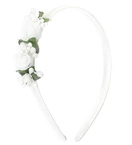 Cerchietto per cerimonia bambina bianco con fiori-Fatto a mano