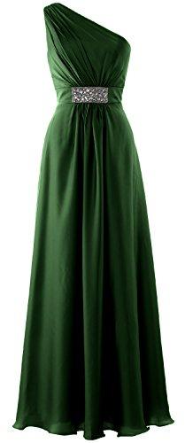MACloth Women One Shoulder Bridesmaid Dress 2017 Long Wedding Party Formal Gown Dark Green