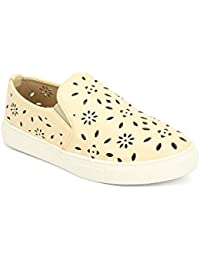 My Lil Berry Beige Ventilated Cut-work Slip-On Shoes For Girls|Kids - B074RGMZX3