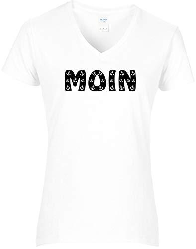 BlingelingShirts Shirt Damen Moin Schriftzug kleine Anker maritim Hamburg Anchor, T-Shirt, Grösse L, Weiss