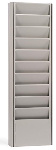 Displays2go Magazine Display with Putty Colored Metal Wall Mounted Catalog Rack (JMWM10PTY) by Displays2go - Mounted Wall Magazin Rack