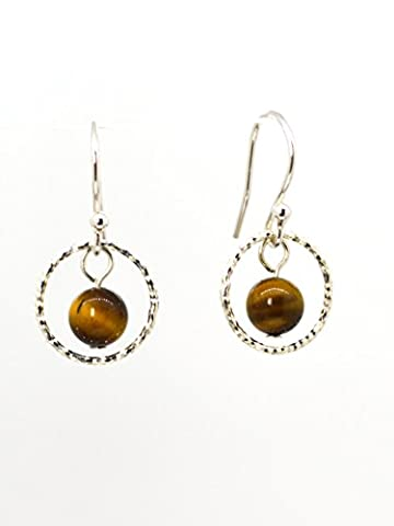 4LG (Live Love Laugh be Lucky) Brown Natural Tiger's Eye Silver Earrings Wild Leopard Positive Energy