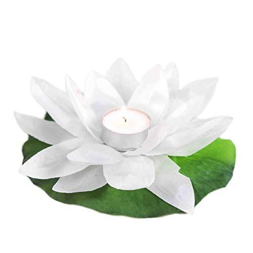 Confezione da 20 candele galleggianti per piscina, fiore di loto, forma di ninfea, poliestere (Bianco)
