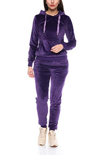Crazy Age Damen Anzug Freizeit Sport Alltag   Samt Nicki Velvet   Kuschelig Sportlich Elegant   XS - XL (Lila, M)