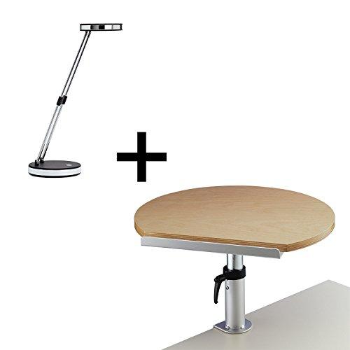Maul Ergonomisches Tischpult mit Klemmfuß Buche inkl. Maul LED-Leuchte MAULpuck schwarz