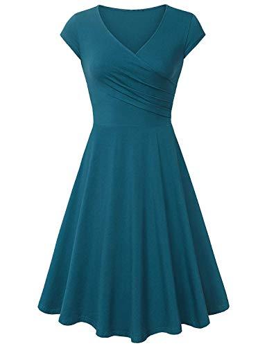 Avacoo Damen Retro Kleider Damen 50er Jahre Kurzarm Elegant Kleid Baumwolle Sommer Kleider Türkis XX-Large 44 (Damen 50er Jahre Pullover)