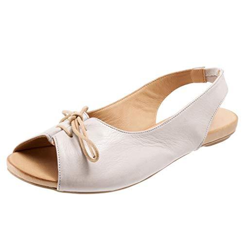 FNKDOR Schuhe Sandalen Damen Slingback Peep-Toe Schnürung Niedriger Absatz Strand Sandals Weiß 39 EU -