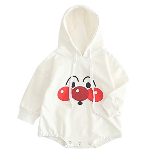 XXYsm Baby Mädchen Overall Jungen Babybody Strampler mit Kapuze Cartoon Jumpsuit Herbst Winter Langarm Hoodie Weiß ❤100/18-24 Monate
