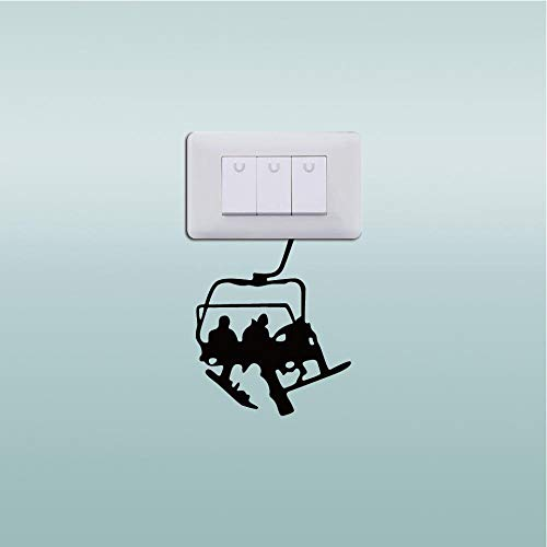 Ski Cable Ride Up The Mountain Vinyl Switch Sticker Fashion Sport Wall Decal Home Decor ()