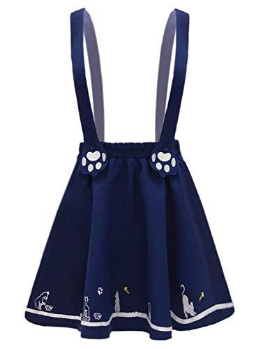 Marine Nette Mädchen Kostüm - Doballa Damen Kawaii Rock Nette Katze Pfote Gestickte Lolita Minirock mit Einstellbare Hosenträger (L, Marine)