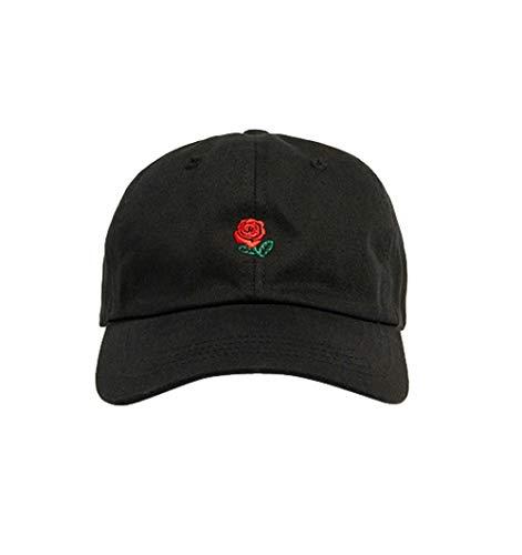 Damen Herren Mode Baseball Cap Rose Muster Baumwolle Combed Mütze Snapback Hiphop Hut (Schwarz)