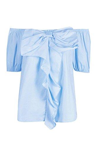 Femmes Bleu Ellie Top Manches Longues Tissé À Volants Et Épaules Dénudées Bleu