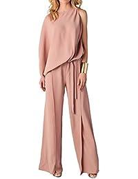 921334a47b7e40 YIFAN DREAM Damen Chiffon Jumpsuit Overall Split Langhose Elegant Ärmellos  Playsuit Spielanzug Einteiler Clubwear Wid Leg Pants…