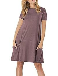 e9147ebc319 YMING Damen Casual Langes Shirt Lose Tunika Kurzarm T-Shirt Kleid 24  Farbe