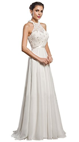 Anna queen da donna abito in chiffon, pizzo capestro collo senza maniche nozze festa lungo maxi vestiti (piccolo, bianca)