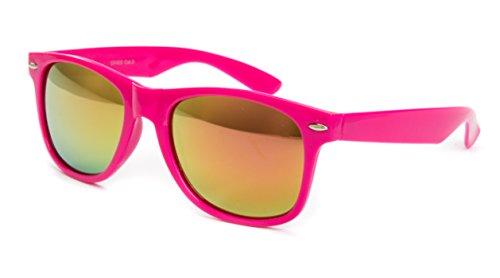 Sonnenbrille Nerdbrille Nerd Retro Look Brille Pilotenbrille Vintage Look - ca. 80 verschiedene Modelle Pink Feuer Glässer