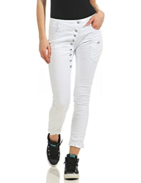 ZARMEXX Jeans de mujer Jeans Stretch Pants Skinny Tube Baggy Boyfriend Look usados ​​Washed hipsters con boton...