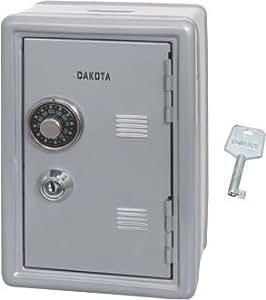 dakota coffre fort mini tirelire avec clef et combinaison gris 12x10x18 cm. Black Bedroom Furniture Sets. Home Design Ideas