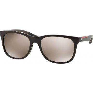 Prada Linea Rossa Men's 03o Brown Demi Shiny Frame/Brown Mirror Gold Lens Plastic Sunglasses