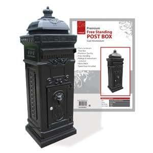De Vielle DEV057751 schwarz glänzend, freistehend, aus Briefkasten Mail Briefablage, Aluminium