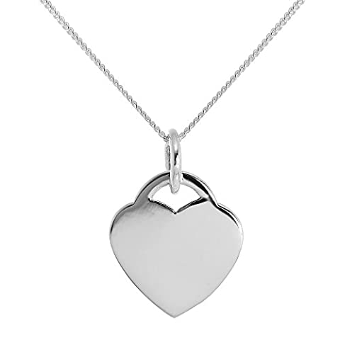 Large Sterling Silver Engravable Heart Charm - 24 Inches