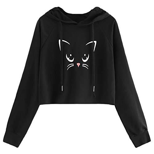 TWBB Pullover Damen Herbst Winter Katze Drucken Sweatshirts Kapuzenpullover Hoodie Kapuzenjacke Bluse