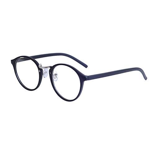 JoXiGo Rund Brille Ohne Sehstärke Klar Linse Damen Herren Retro Hornbrille Rahmen Brillenfassung...