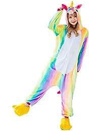 Hycomell Pijama Unicornio de Una Pieza Unisexo Adulto Tela de Franela Estilo de Dibujos Animados ActualizacióN