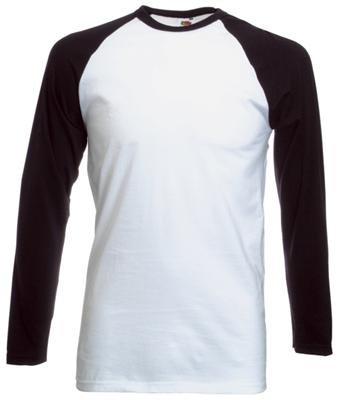 Fruit of the Loom Baseball Langarm ( Longsleeve ) T-Shirt S M L XL XXL Weiss - Schwarz,L (Schwarz-weiß Langarm Shirt)