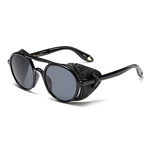 TYJYTM Retro Gothic Leder Sonnenbrille für Männer Round Side Shield Punk Sonnenbrille für Frauen Goggle