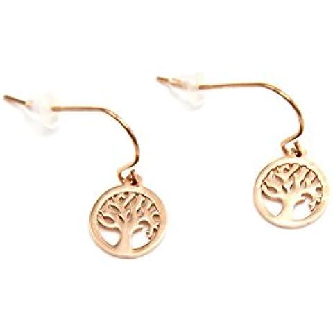 BO629E-Orecchini da donna, pendenti a cerchio Mini albero della vita, in acciaio, colore: rosa/oro-Mode fantasia - Vita Pendente Del Cerchio