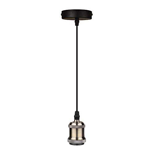 Diolumia Vintage Lampenfassung E27 Pendelleuchte mit Kabel schwarz für Esstisch Küche Esszimmer Kupfer Metall Retro Edison Antik industrial Loft Grün Bronz