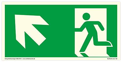 Schild Notausgang | extra langnachleuchtend | PVC selbstklebend 297x148mm | gemäß ASR A1.3 DIN 7010 DIN 67510 | Notausgangsschild Links schräg aufwärts | Fluchtweg Rettungsweg | Dreifke® extra 160