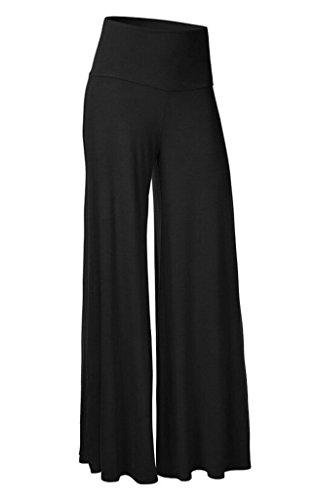 Smile YKK Pantalon Evasée Femme Large Jambe Pantalons Longues Grande Taille Sport Yoga Jogging Noir