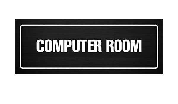 Dark Wood Plastic Single iCandy Products Inc Computer Room Business Office Door Building Sign 3x9 Inches