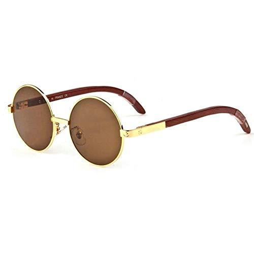 LKVNHP Holz Sonnenbrille Männer Runde Designer Sonnenbrille Für Mann Markenname Anti Reflektierende Frau ShadesBraun
