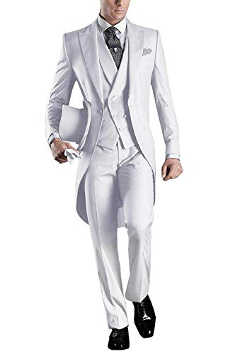 Herren Frack (YYI Herren 3 Stück Frack Anzug Set Business Tuxedo für Männer Jacke, Weste, Anzughose)
