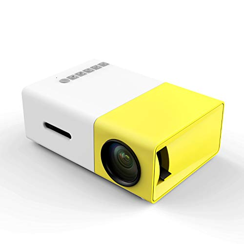 PA® Mini Beamer LED LCD Projektor 1080P HD für HDMI VGA AV SD Heimkino Videoprojektor für Festplatte Laptop iPhone Smartphone Video Spiele,Yellow