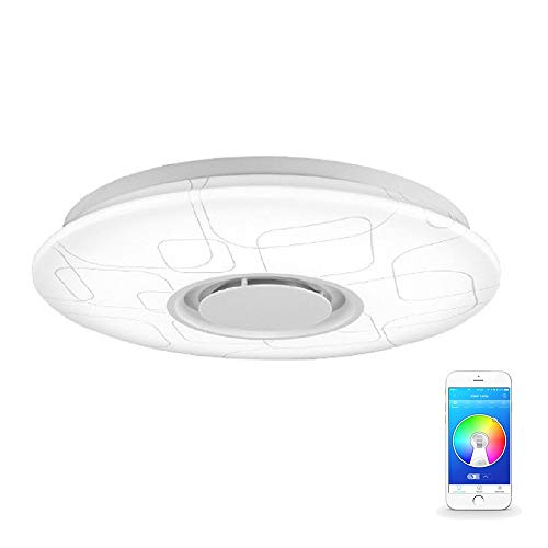 pl/ástico // aluminio 1 x 24W LED integrado L/ámpara de techo AEG LED Altavoz de m/úsica Bluetooth blanco // cromo 2800-4500K 1 x 1700 Lumen chip SMD