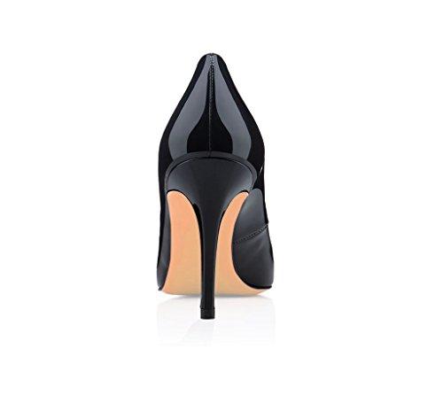 EDEFS Damen Pumps Spitze Zehen Klassischer Übergroß High Heels Geschlossen Schuhe Schwarz