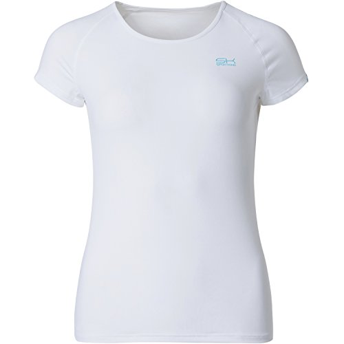 Sportkind Mädchen & Damen Tennis / Fitness / Sport T-Shirt, weiss, Gr. 152
