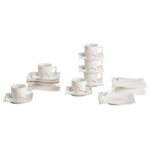 18-tlg. Kaffeeservice LEAVES IN MOTION Porzellan weiß Maxwell & Williams