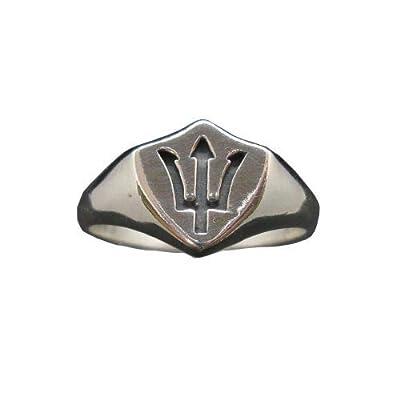 Bague en Argent Sterling Symbole de Poseidon Trident Solide Poinçonné 925